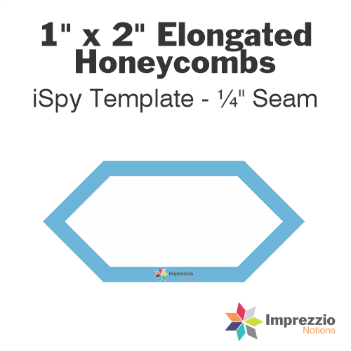 "1"" x 2"" Elongated Honeycomb iSpy Template - ¼"" Seam"